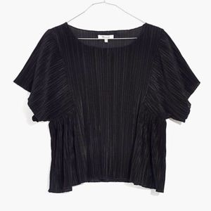 Madewell Texture & Thread Micropleat Top in Black